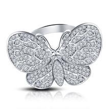 Womens Diamond Butterfly Engagement Beautiful Ring 14k White Finish 925 Silver - $73.99