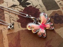 Pink Butterfly Necklace| butterfly necklace for girls - $24.99