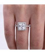 3 Carat Princess Shaped Moissanite Engagement Ring 14K White Gold Halo Ring - $519.00
