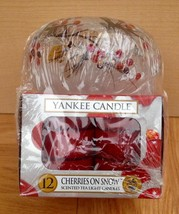 YANKEE CANDLE 12 Scented Tea Light Cherries on Snow with Tealight Holder... - $19.79