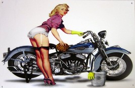 Motorcycle with Blonde Pin-Up Metal Sign - $30.00