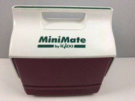 Vtg 90s Minimate Igloo Green Burgundy Push Button Cooler Lunch Box - $21.78