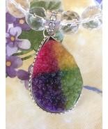 Clear & Hot Pink Beads Pear Shaped Multi Color Druzy Quartz Pendant Neck... - $27.99