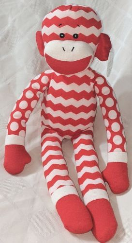 GANZ In Stitches 16 Inch Holiday Red And White Monkey Age 3 Plus