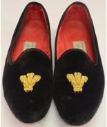 Berk of London Prince of Wales Feathers Velvet Slippers Sz: 8 - $250.00