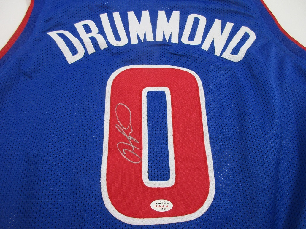 51405f80d6d7 ANDRE DRUMMOND - DETROIT PISTONS HAND SIGNED BLUE BASKETBALL JERSEY - COA