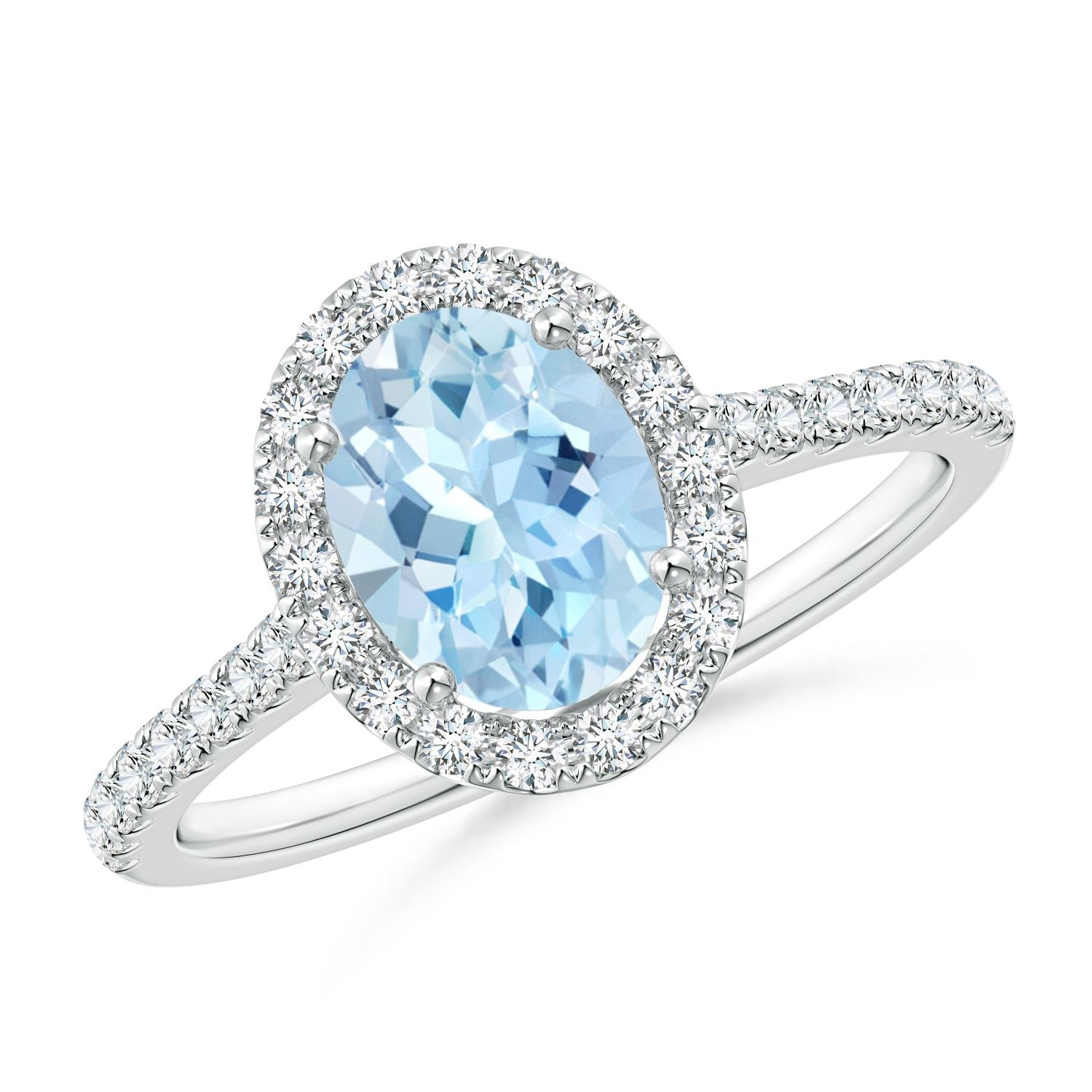 1.34tcw Oval Natural Aquamarine Halo Ring with Diamond Accents Gold/Platinum