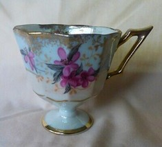 Lefton Porcelain Pedestal Demitasse Cup Only Purple VIOLETS on Blue Grou... - $10.00