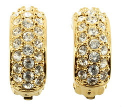 VINTAGE SWAROVSKI PAVE DIAMONTE CRYSTALS HOOP CLIP EARRINGS W/ SWAN MARK... - €83,31 EUR