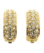 VINTAGE SWAROVSKI PAVE DIAMONTE CRYSTALS HOOP CLIP EARRINGS W/ SWAN MARK... - $101.24