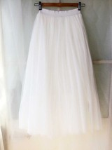 WHITE Long Tulle skirt White Wedding Tulle Skirt Plus Size White Tulle Skirt image 2