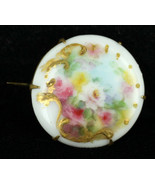 "Antique Hand Painted Roses Gold on Milk Glass Victorian Pin 1"" - $31.49"