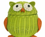 Large Green Owl Rattan Storage Basket Decor Hand Woven Shelf Organizer Wicker