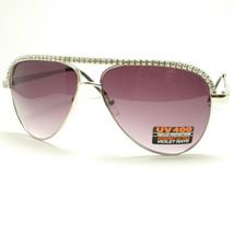 AVIATOR Rhinestone Classic Sunglasses Ladies SILVER - £5.70 GBP