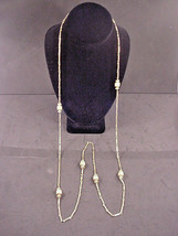 """Monet Vintage Chain Necklace 52"""" Bead Stations w /Clasp Double Triple Metal Tag - $22.28"""