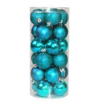 (blue)24pcs 4cm Round Christmas Balls Baubles Xmas Tree Decoration Chris... - $18.00