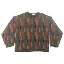 Vintage 70s Allen Wah Mens M Abstract Geometric Multicolor Crew Neck Swe... - $32.73