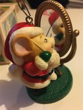 Avon 1982 Melvin & Merrymouse Keepsake Ornament In Box Santa Mouse Mirror - $6.92