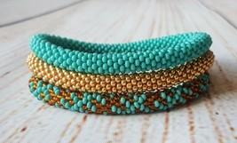 Nepal beaded rope bracelet set, roll on bangle turquoise gold girlfriend... - $18.00+