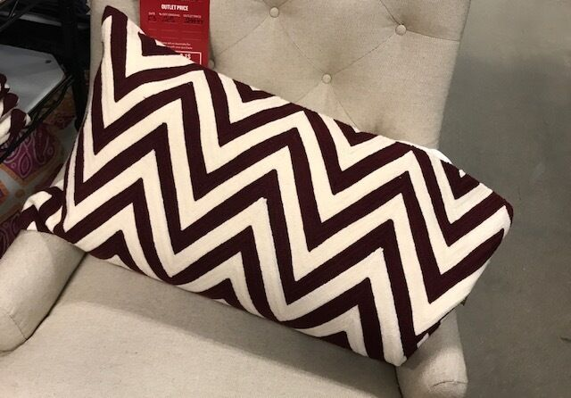 Primary image for Pottery Barn Chevron Lumbar Pillow Cover Madeira Wine 16x 26L Crewel Embroidered