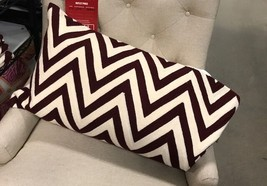 Pottery Barn Chevron Lumbar Pillow Cover Madeira Wine 16x 26L Crewel Emb... - $49.50