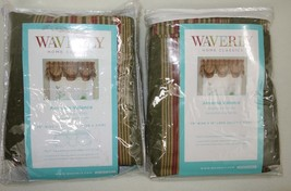 "2 Waverly Amanda Valances Home Classics Sweetwater Stripe Olive 2.5"" Rod... - $38.75"