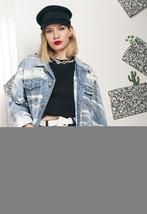 Vintage reworked denim jacket w bleached pattern - $52.22