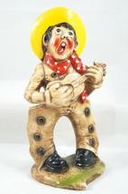 Vintage Chalkware Singing COWBOY Playing Guitar Figurine Chaps Bow Legged - $38.22