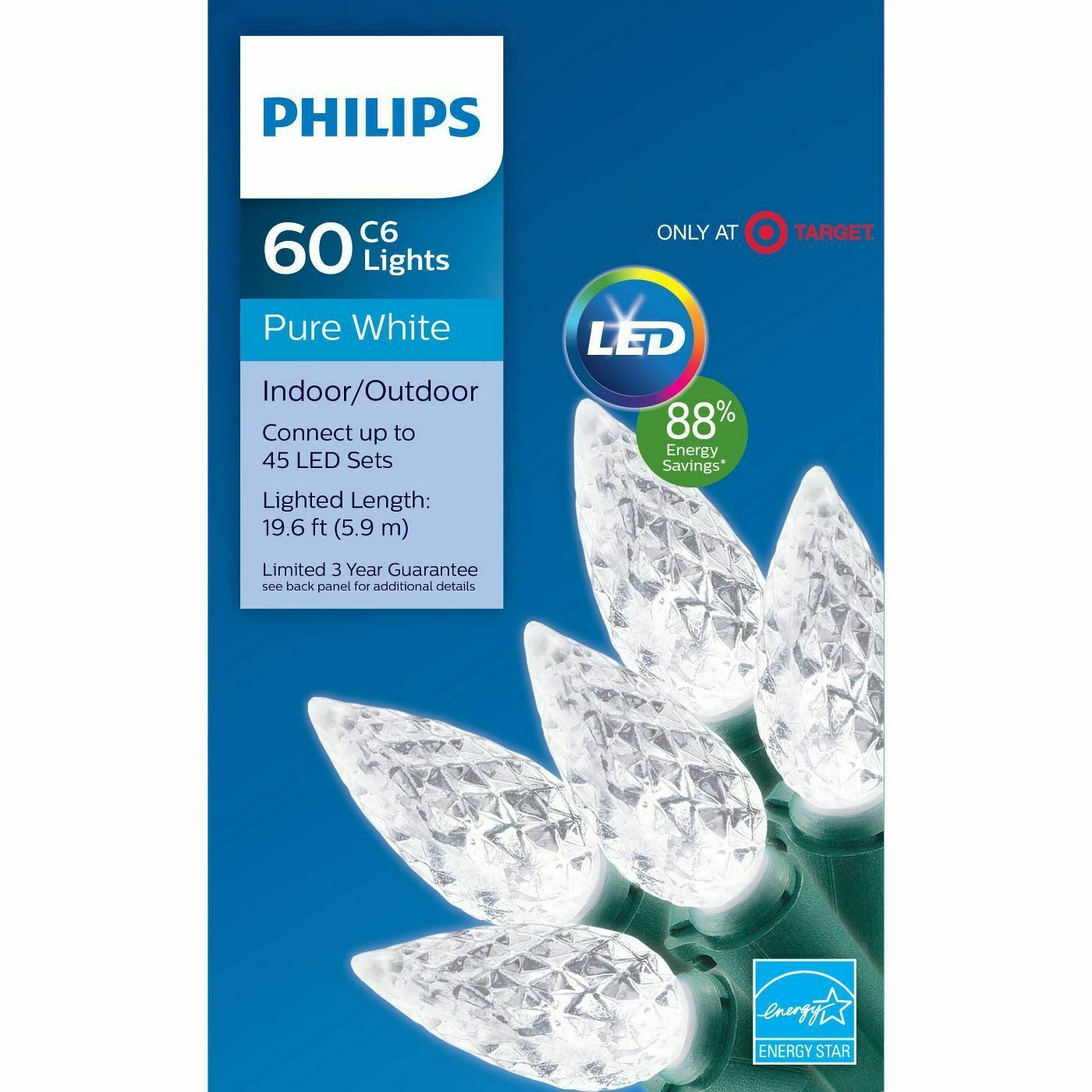 Philips 60ct In-/Outdoor Christmas LED C6 Faceted String Lights Pure White NEW