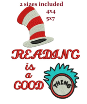 Dr Seuss Reading Good Thing digitized filled embroidery design Digital D... - $4.50