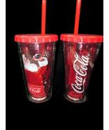 Coca-Cola Set of 2 Cool Gear 16 OZ Winter Holiday Tumbler Santa Christmas - $7.92