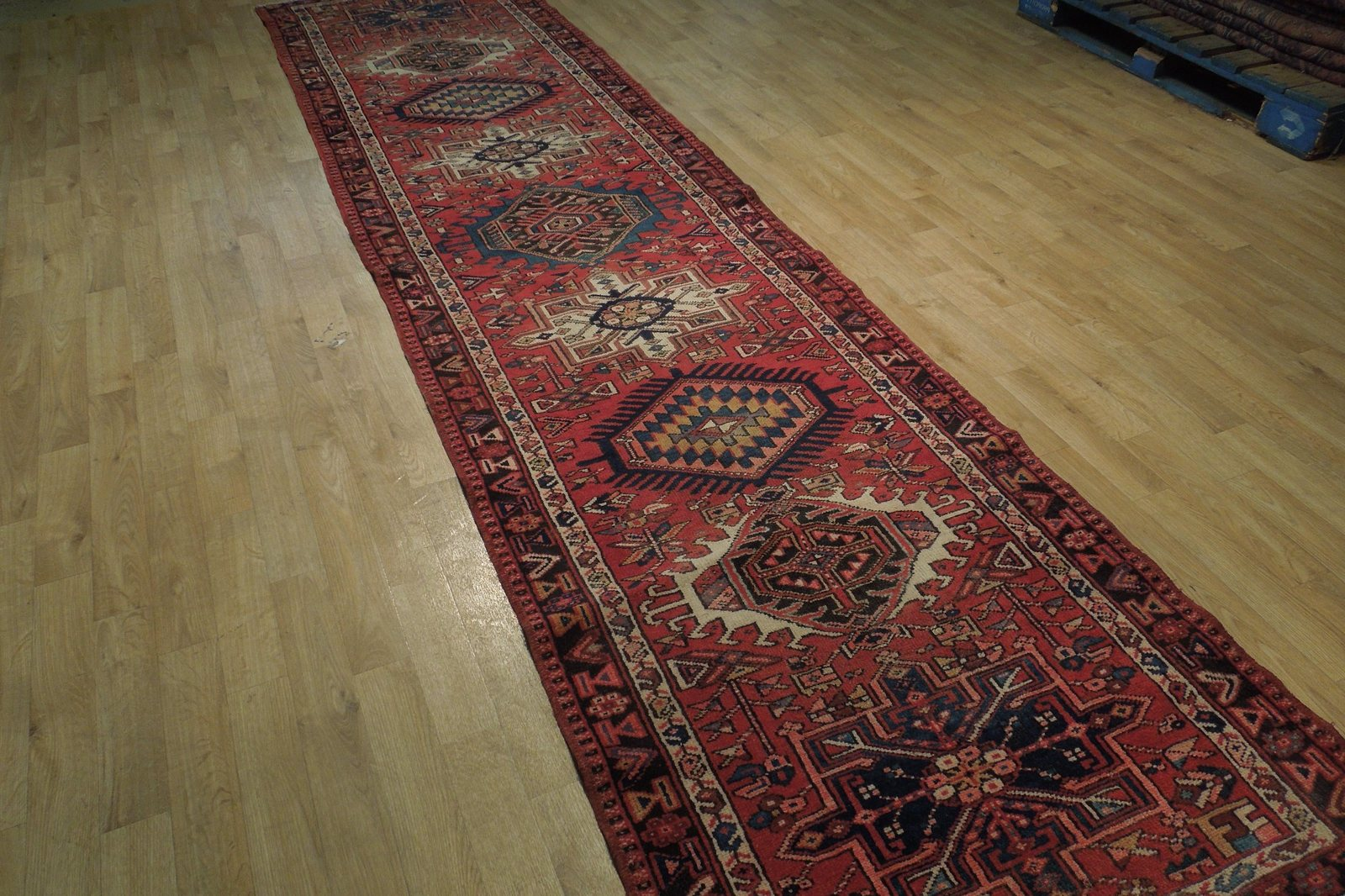 Red 3 x 13 All-Over Classic Tribal Design Runner Karaja Persian Handmade Rug image 2