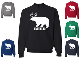 Beer Bear + Deer Funny Crewneck Sweatshirt Pub Beer Drinking Party St. P... - $14.73+