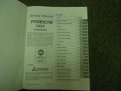 1991 MITSUBISHI Precis Service Repair Shop Manual FACTORY FEO BOOK 91 DEALERSHIP