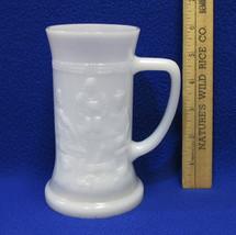 Vintage Federal White Milk Glass Mug Beer Stein Cup Tavern Relief Bar Sc... - $10.88