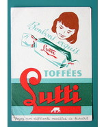 INK BLOTTER French AD: 1955 Lutti Toffee Caramel Candies Girl Head Carto... - $4.05