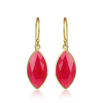 Handmade 925 Silver Gold Plated Pink Chalcedony Gemstone Earrings Jewelry - $20.79