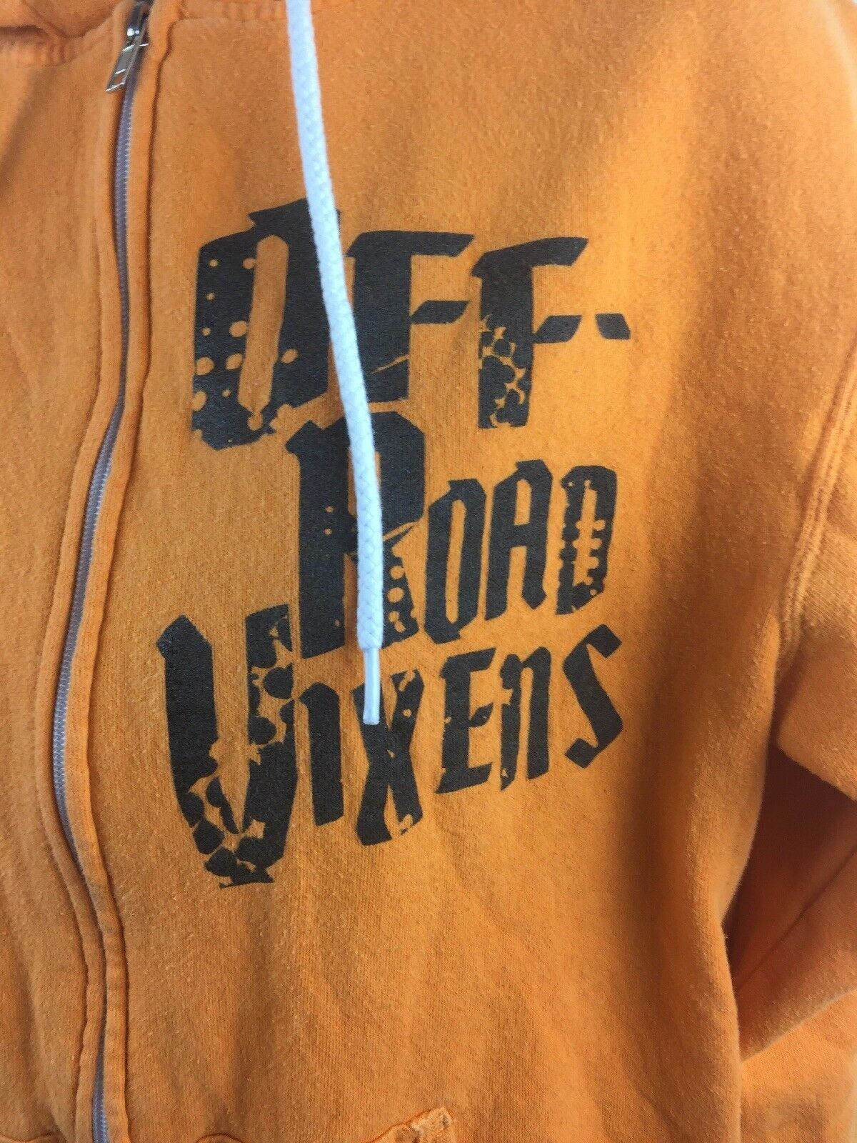 Off-Road Vixens Cotton Poly Orange Hooded Zipper Sweatshirt Size M image 2