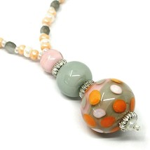 Necklace Antica Murrina Venezia, CO965A25 Pink Orange, Sphere Polka dot, Pendant image 2