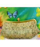 Ann Taylor LOFT Vintage Clutch Victorian Floral Purse Gold Frame Handbag - $23.36