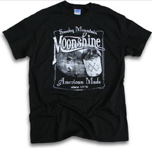 Smokey Mountain Moonshine Men Black T-Shirt New - $17.99