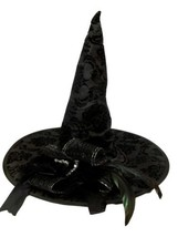 Black Rose Halloween Witch Hat With Feathers Ribbons and Bow - €17,83 EUR