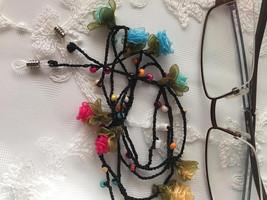 Rose Eye Glasses Chain,Multicolor Spectacle Holder,Black Glasses Lanyard - $15.00