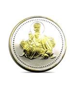 Pure Silver Coin 999 BIS Halmarked Guru Nanak Dev 24K Gold Plating 10 gms - €17,18 EUR