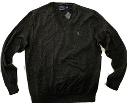 Polo Ralph Lauren men's Dark Grey Washable Merino v-neck Sweater sz Medi... - $69.25