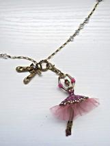 Betsey Johnson Pink Tutu Ballerina Pendant Chain Necklace, NWT - $27.01