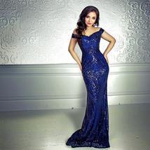 Sexy Shiny Sequin Retro Maxi Party Dress Off Shoulder Long Lining Low Cut Floor  image 2