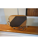 Authentic Michael Kors Large EW Crossbody Color Block Brown New With Tag - $123.74