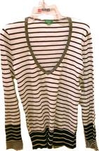 Benetton Women Clothing Top Shirt Blouse Size L White Black Stripes Long... - $13.99