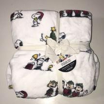 Peanuts Berkshire Velvet Soft Blanket Snoopy Woodstock White 50 x 70 Throw NEW - $29.70